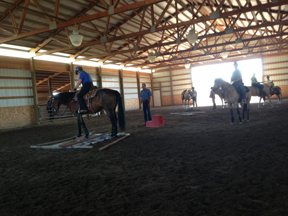 Approaching trail obstacles was a great exercise in the clinic today. Very proud of the riders and horses accomplishments throughout the weekend!