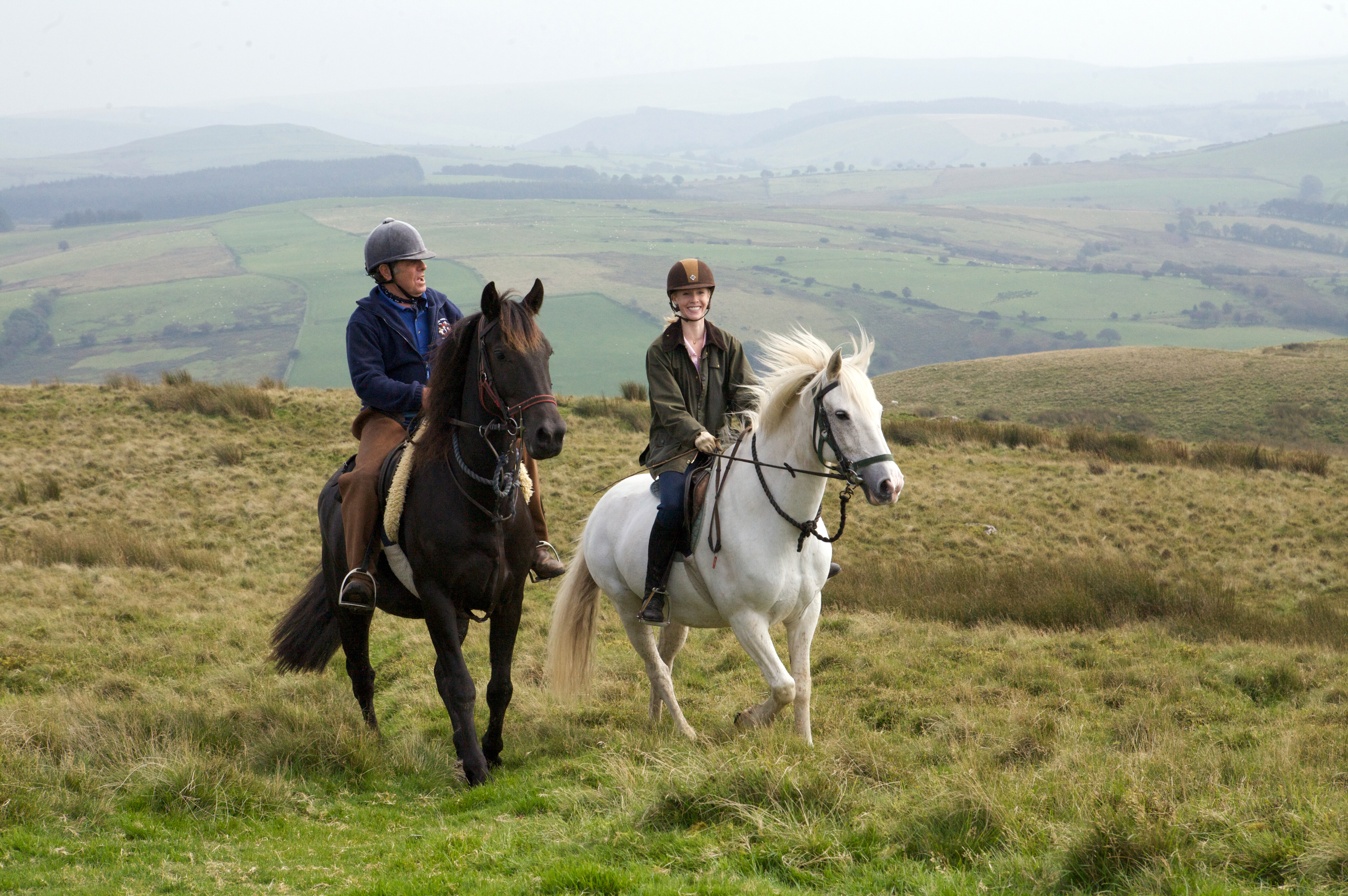 Charlie Pollak and Darley Newman ride the Cambrian Mountains in West Wales. Darley rode on a beautiful Welsh Cob named Seren during the filming of Equitrekking Wales.