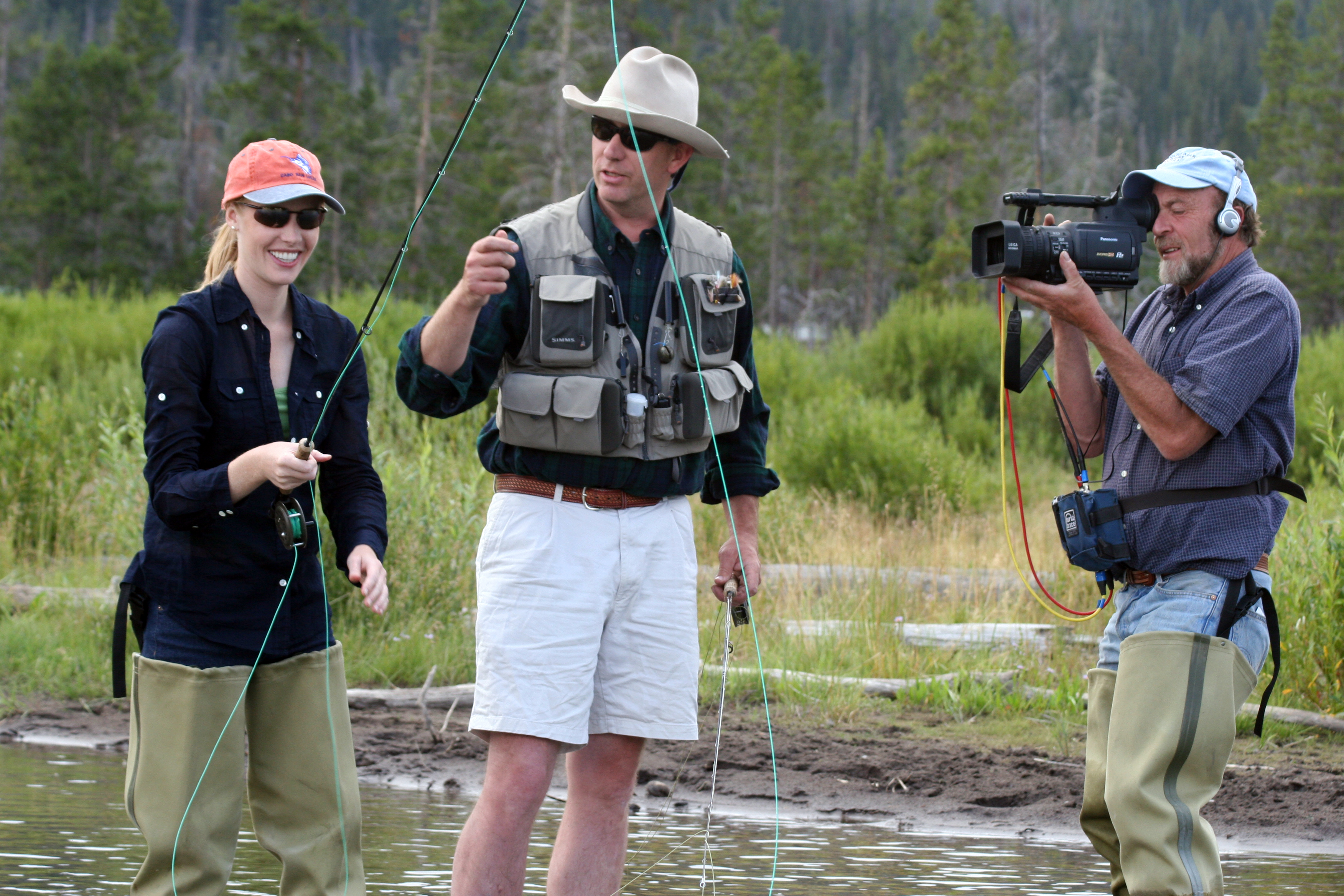 Darley Newman learns fly-fishing from Phil Dudley at T Cross Ranch outside of Dubois, Wyoming during the filming of Equitrekking Wyoming, a half hour high definition episode.