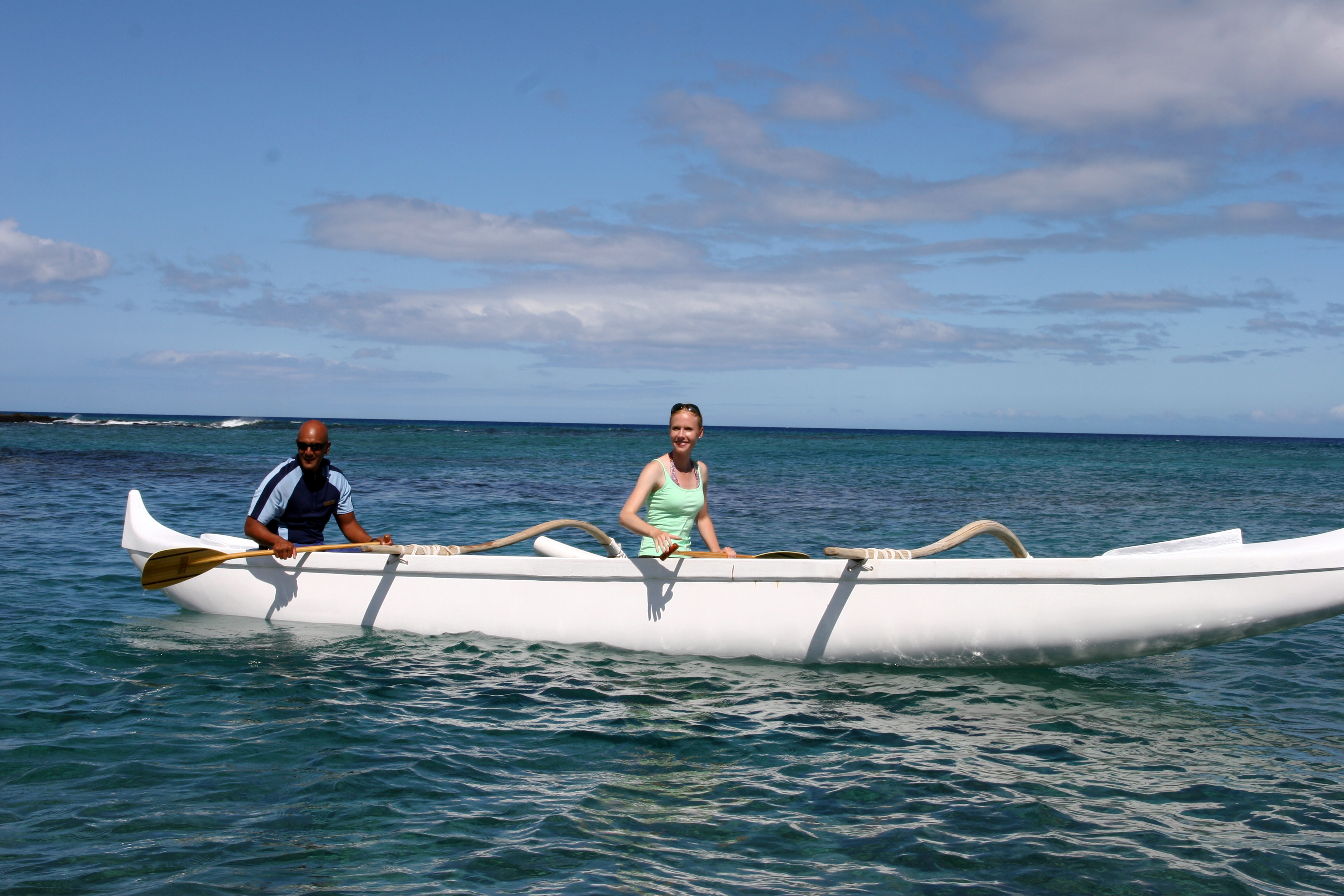 Host Darley Newman learns about outrigger canoeing with Elton Cabrera during the filming of Equitrekking Hawaii's Big Island.