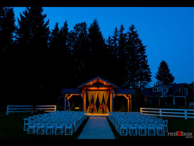 An amazing evening photo of the Ceremony Pavilion by Red Box Pictures photography studio. Thanks Scott!