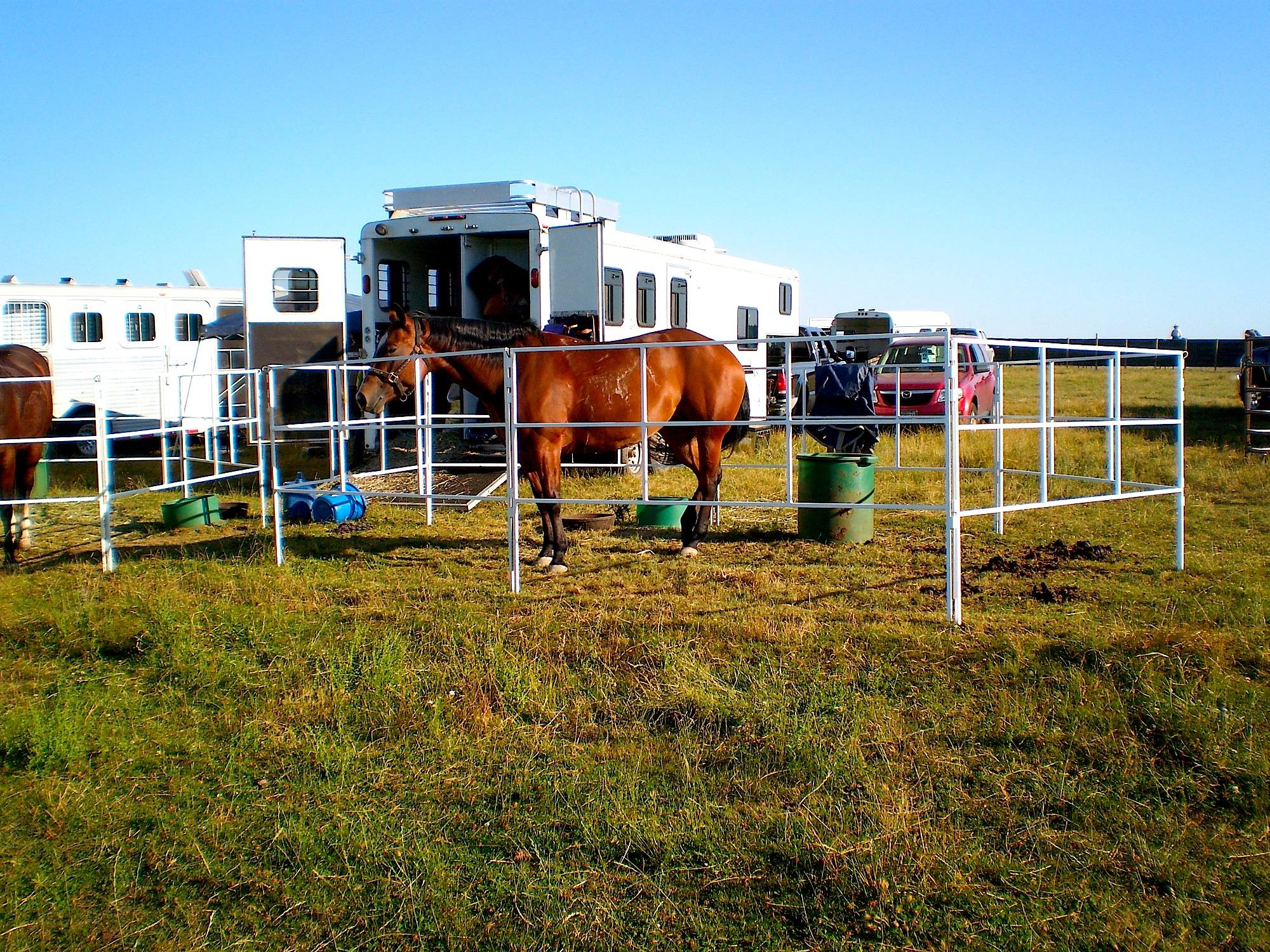 The best travel corral panel system available! Portable horse corrals. Designed for Traveling with Horses. Built for Good.
