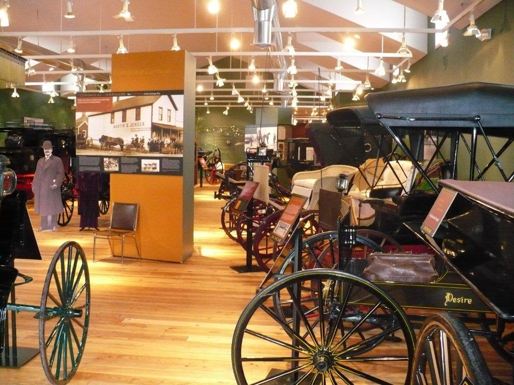 Today, there are many incredible horse drawn vehicles at the museum.  In addition, other museum exhibits include a 1890 schoolhouse, a wheelwright/blacksmith shop, an educational transportation timeline, period clothing, artifacts, pictures and, of course, a unique gift shop.