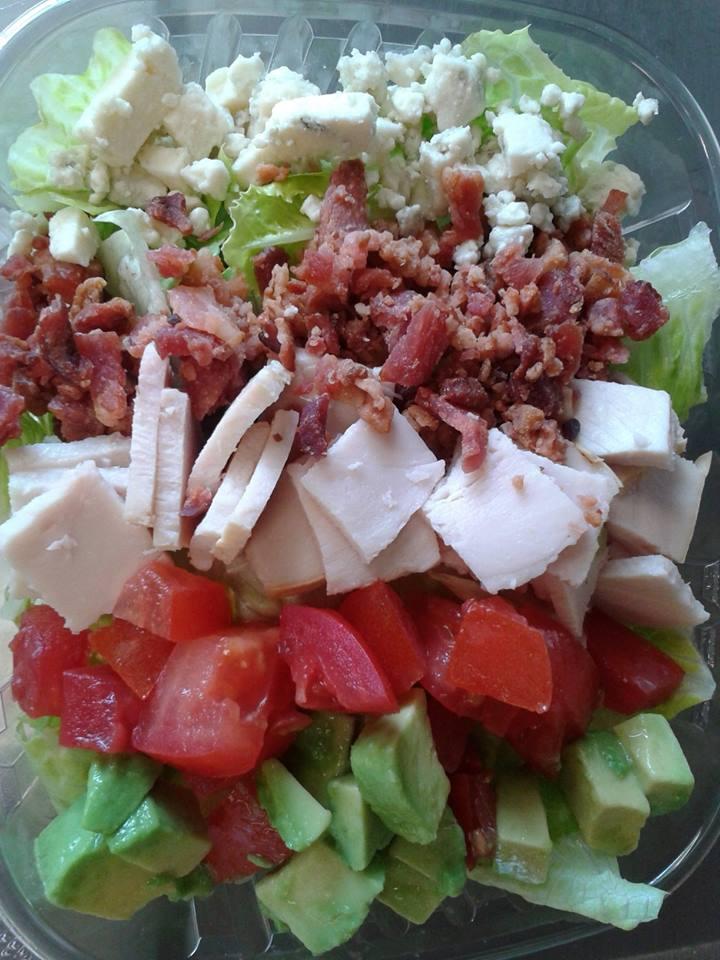 Cobb Salad: Romaine, Blue Cheese, Bacon, Oven Roasted Turkey, Tomato