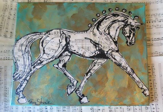 Dressage! 11 x 14 mixed media collage on canvas.