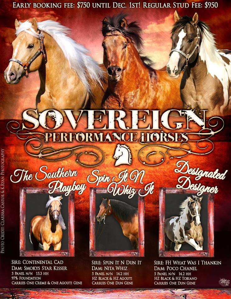 Thank you, Sovereign Performance Horses for trusting Mighty Pine Designs to build this ad for you! We wish you the very best during the 2016 breeding season!