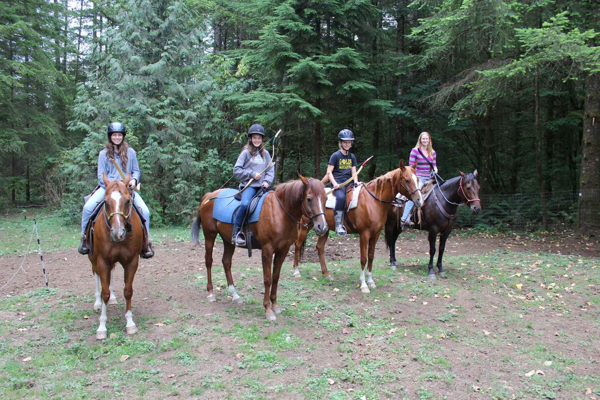 Weekend clinics can be 1-3 days long, and are $100 a day per person if you bring your own horse. Or you can borrow one from the ranch at $25 a day. Archery Equipment for clinics is available for rent for $20 a day per person.