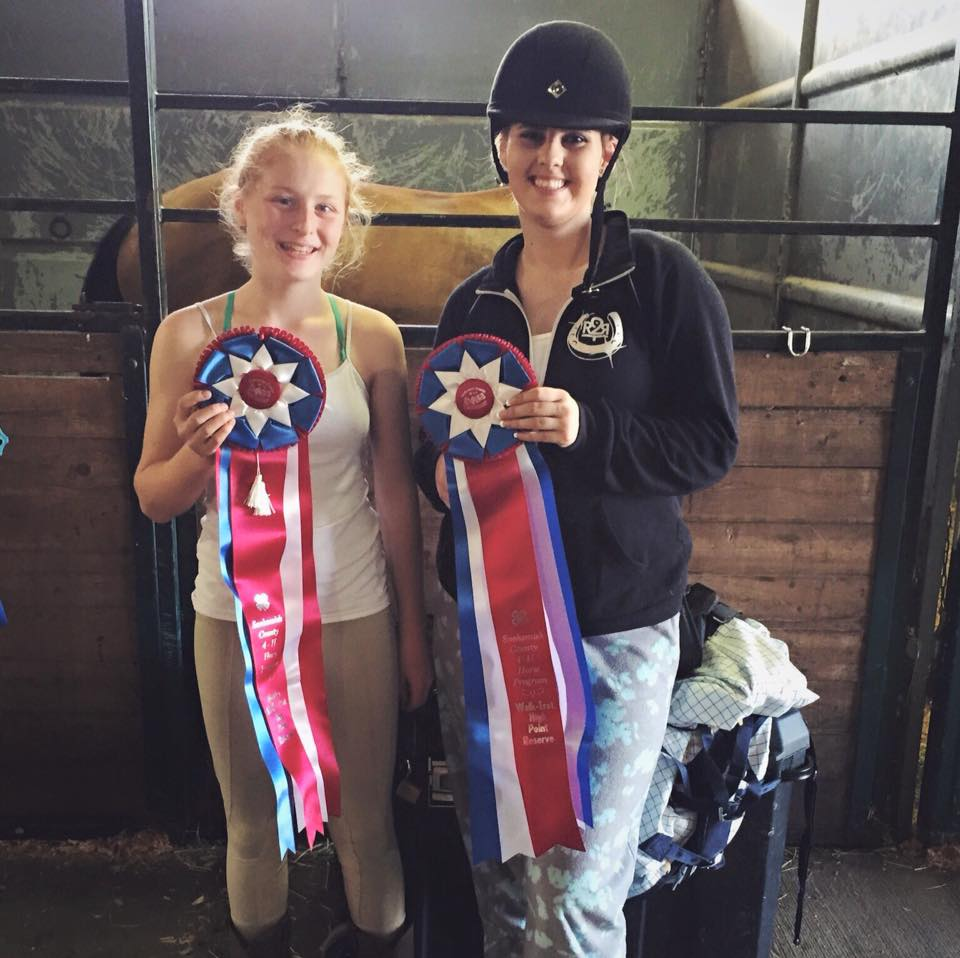 So proud. Ansley and Nina both got reserve highpoint in their divisions at the Monroe fairgrounds for the first 4-H show!