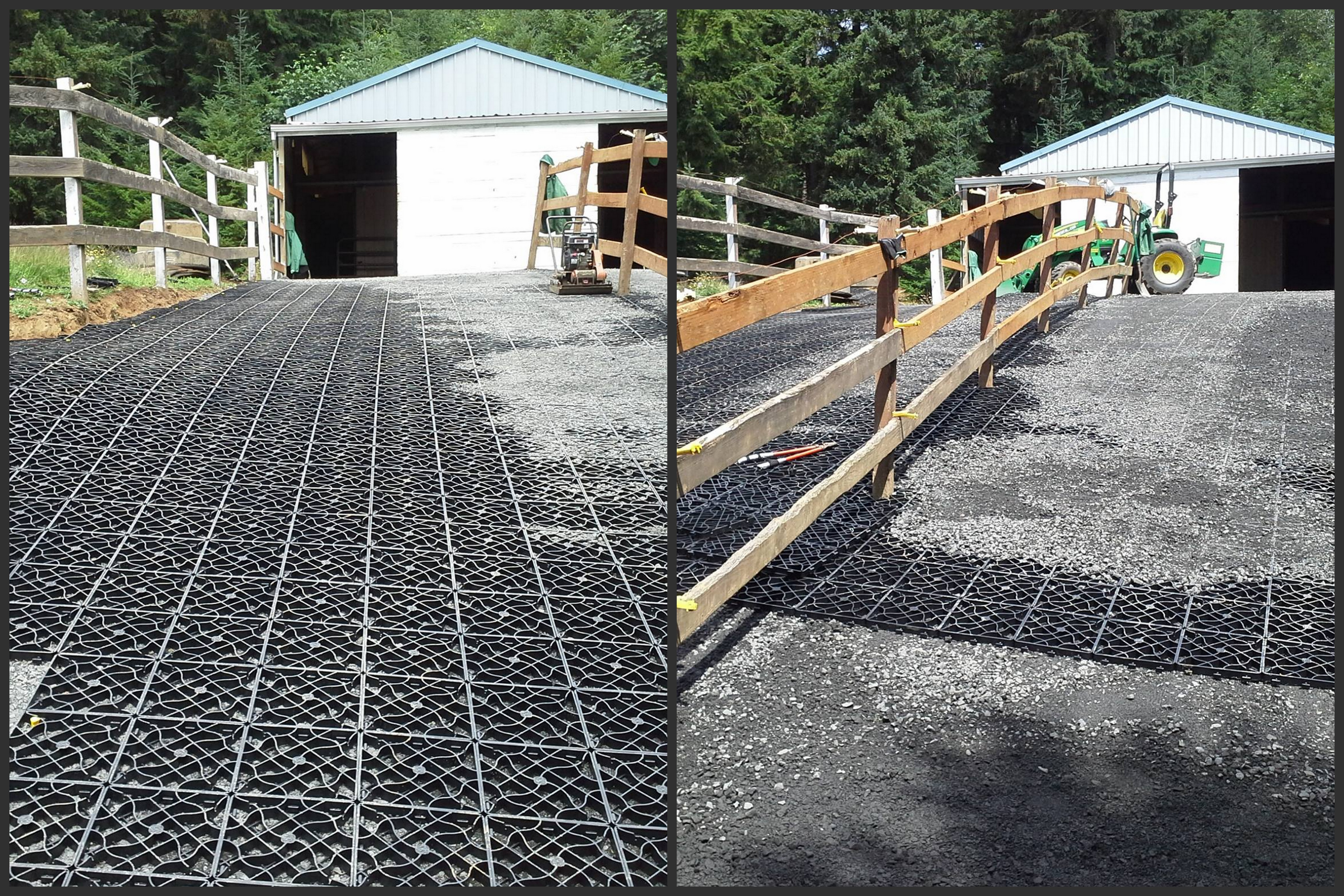Eco GreenGrid is a 100% recycled plastic interlocking grid mat that works on the snow shoe theory by distributing weight across larger surface areas.  Offering multiple applications for new and established equine properties.