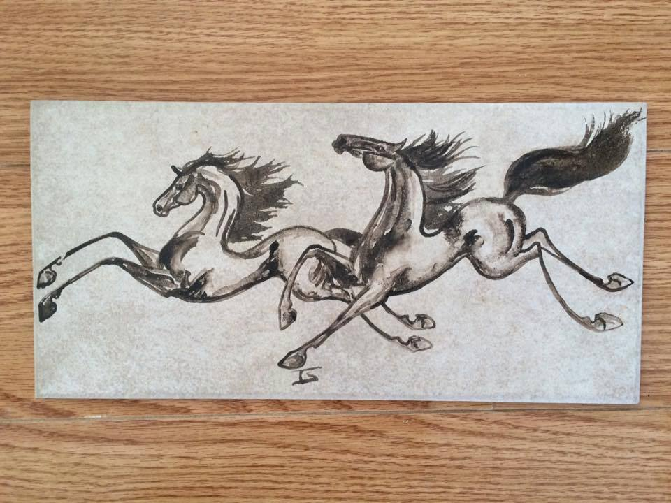 6×12 fired tile. These horses were painted with glaze and then fired in my kiln. This image will not wash off. $45