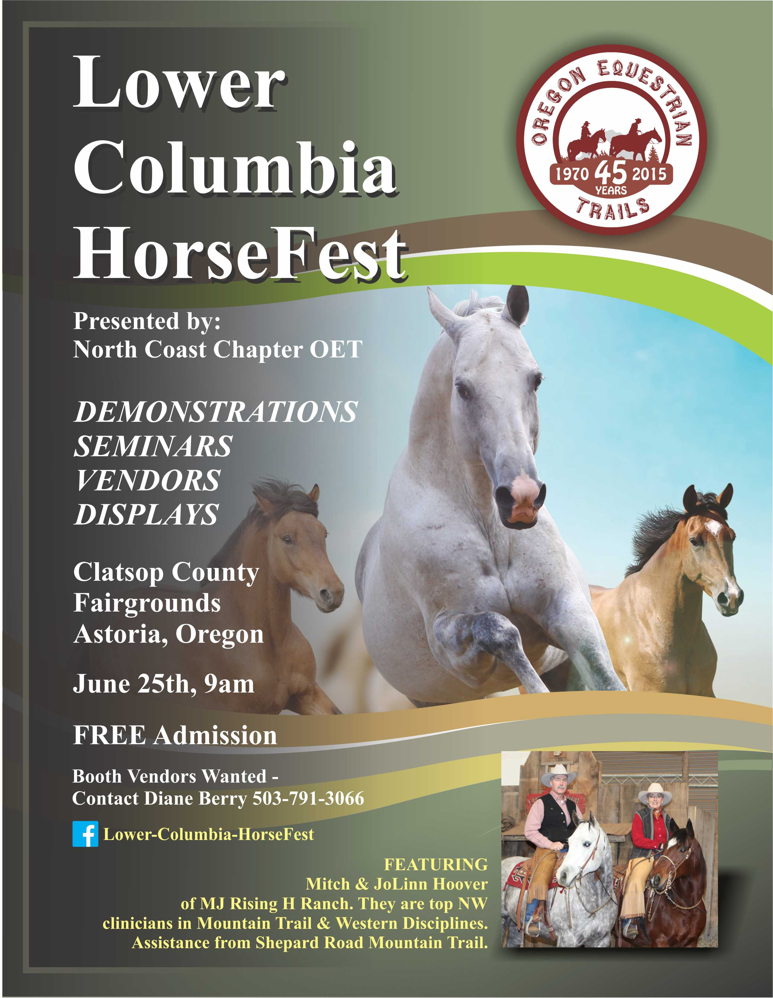 North Coast Chapter of Oregon Equestrian Trails announces Lower Columbia HorseFest 2016.