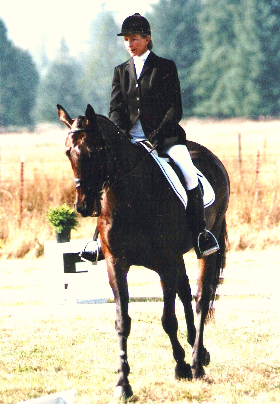 Denise riding a dressage test at a USEA recognized Horse Trial