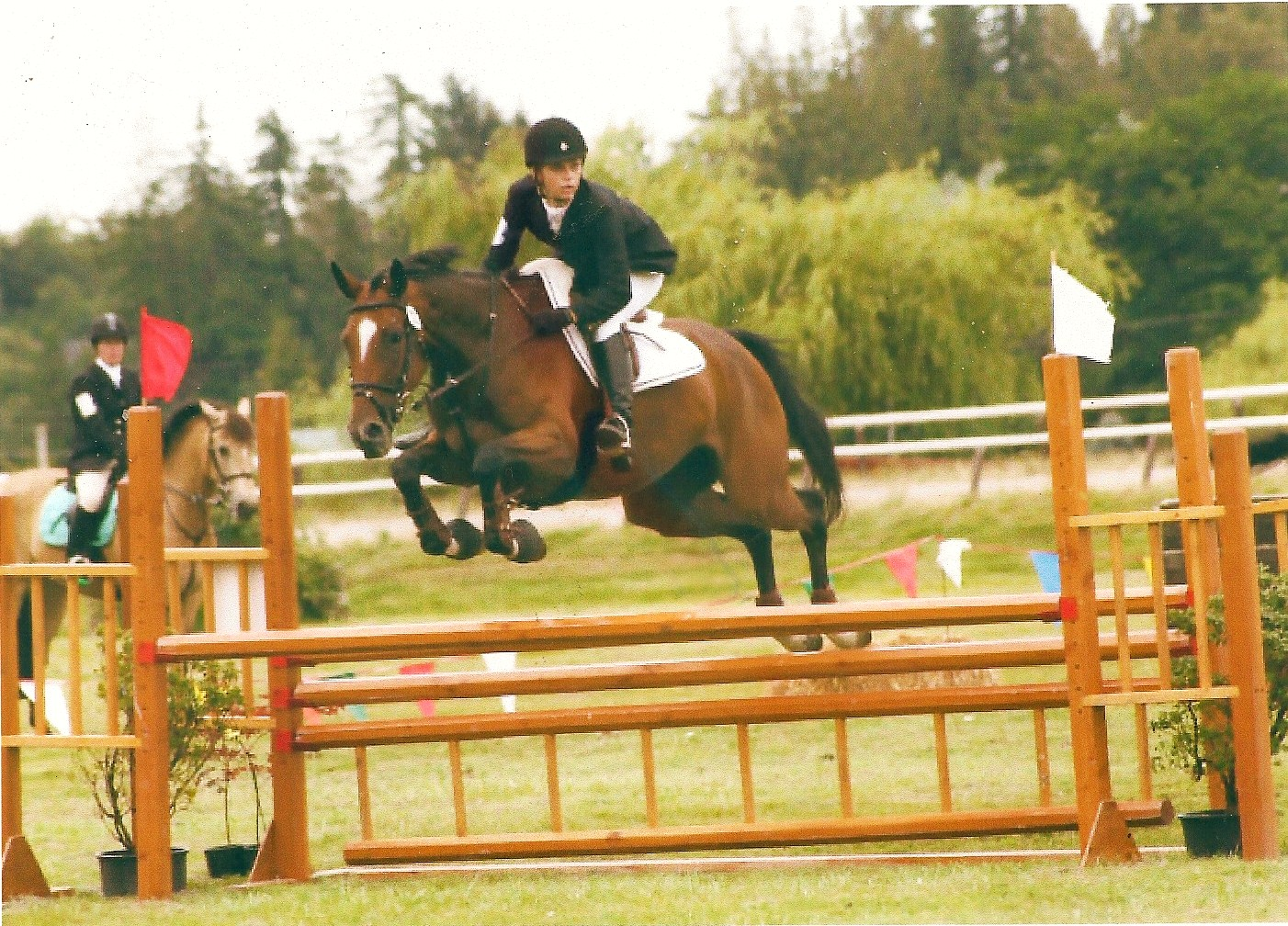 A young Carli Sowder on her beautiful mare Elle stadium jumping in their first Training Level competition. Carli is now and upper level rider and a school teacher.