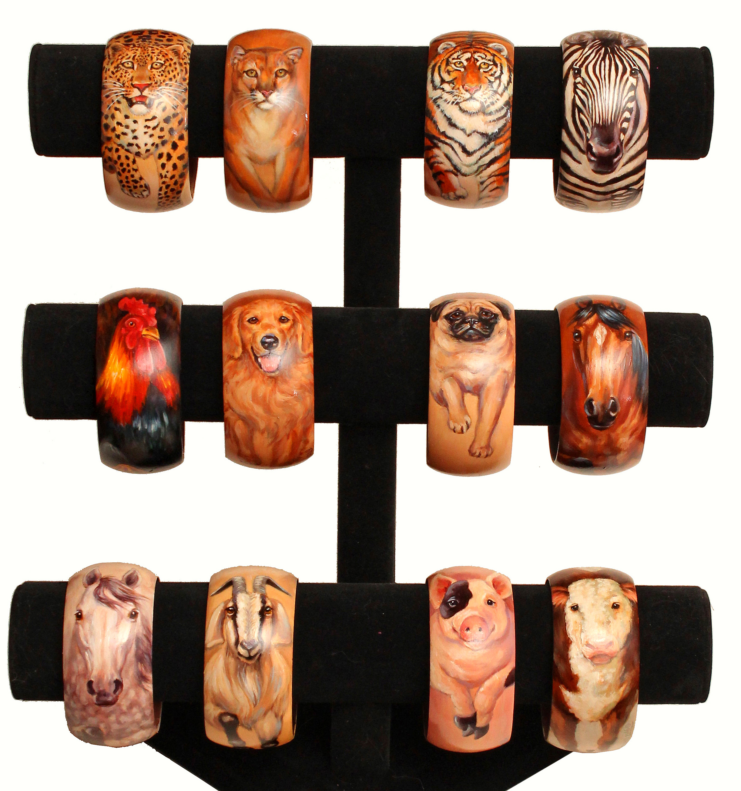 Hand-painted Wood Bracelets- Affordable Original Artwork worn on your wrist!
