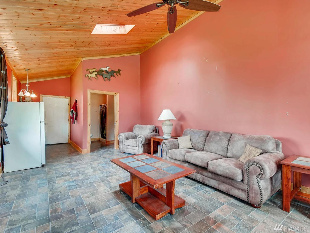 Guest room/studio, ground level with kitchenette, and ADA compliant bathroom. Located within shop.