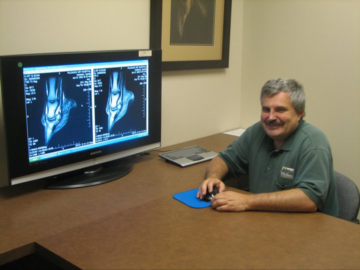 Dr. James Bryant reviewing imaging results