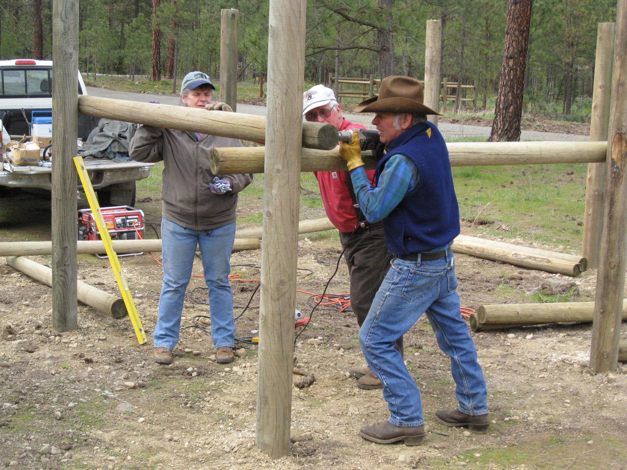 Building corrals at a Riverside State Park trail head