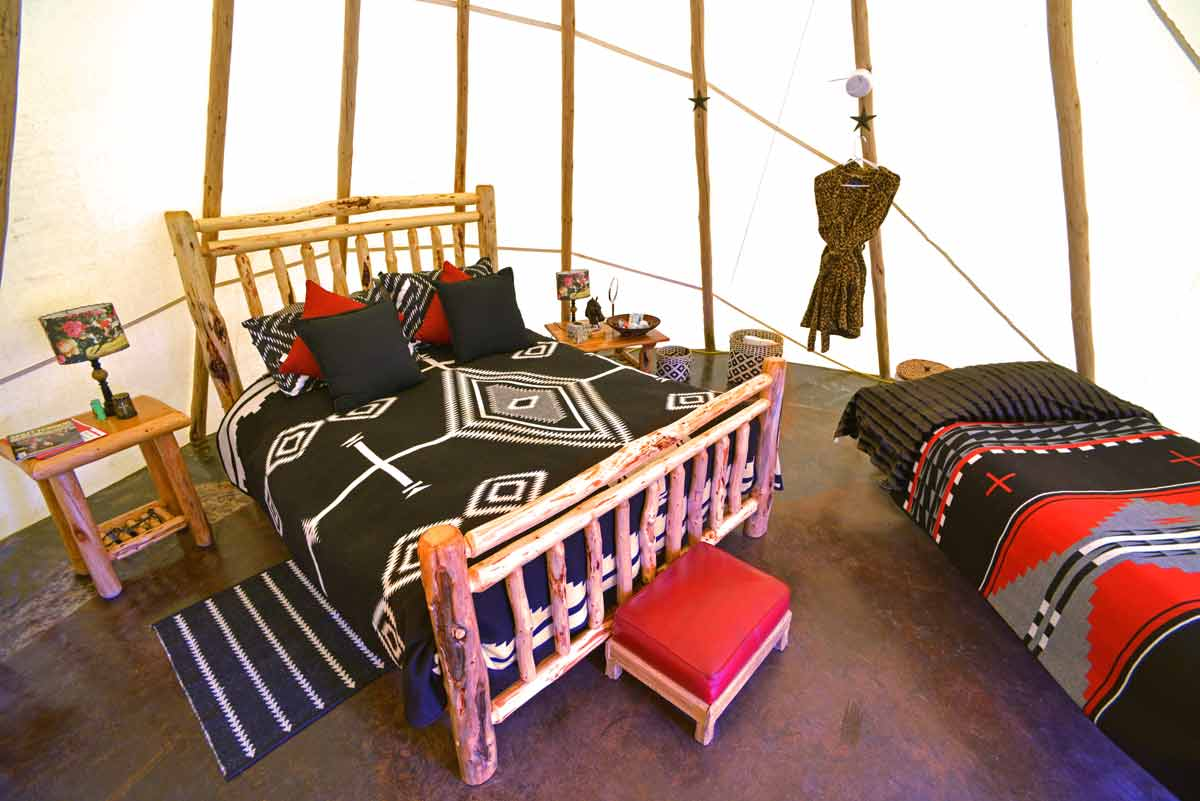 For an romantic adventure in the wine country,bed down in your own private teepee.
