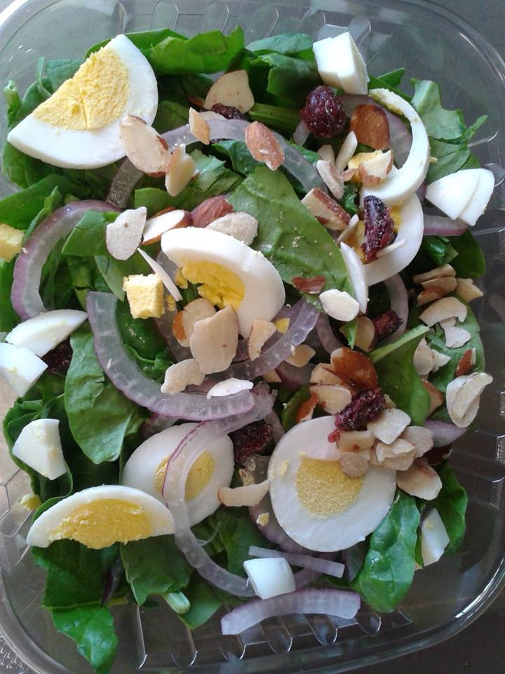 Spinach Salad: Baby Spinach, Hard Boiled Egg, Red Onion, Dried Cranberries