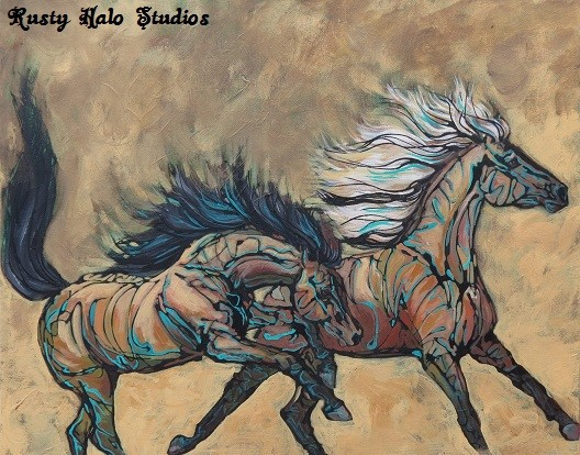 "Rusty Halo Studies offers a variety of equine art on canvas, pottery, tile, and a horse coloring books.  Shown is ""Wild Autumn"" 16 x 20 mixed media on gallery wrap canvas."