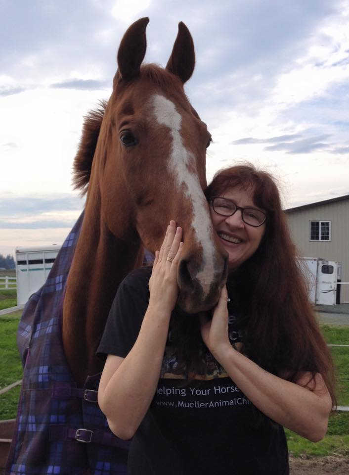 Dr. Mueller and her boy, Pikante, at their new barn HtH2.