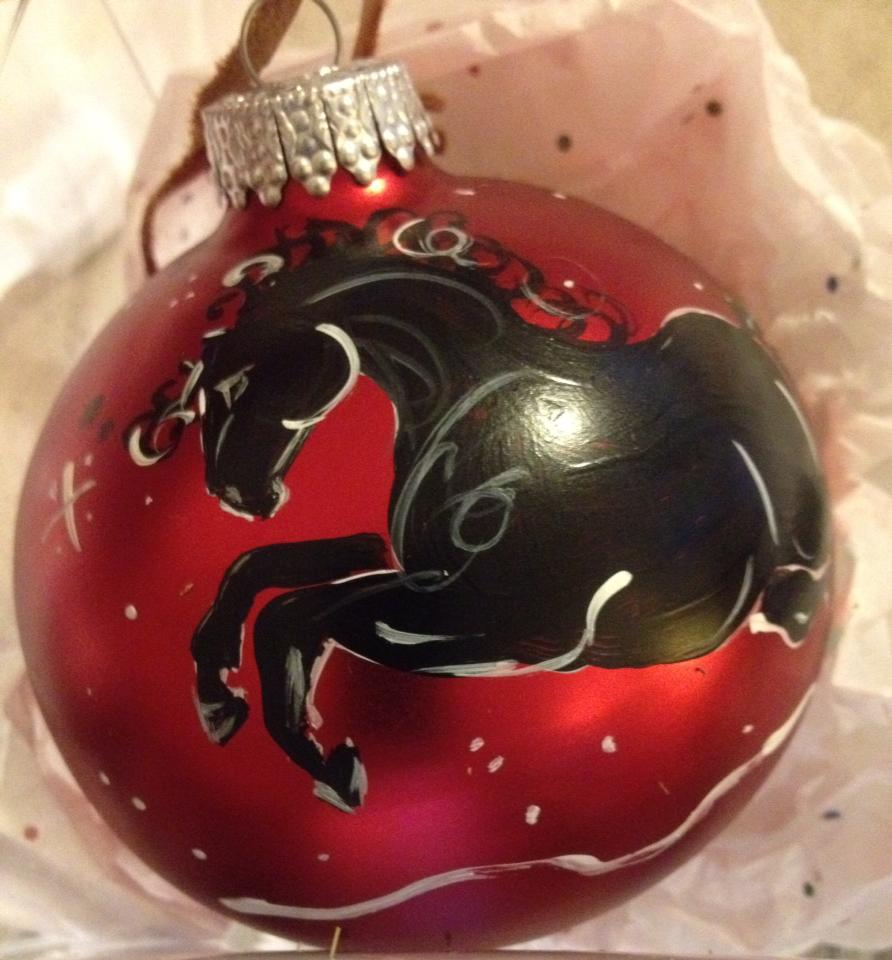 Have a colorful gallop through your tree, in your window, or as special gift.  These hand painted ornaments are available in a variety of coat colors.  Or send us your photo for a custom painted ornament of your special friend.