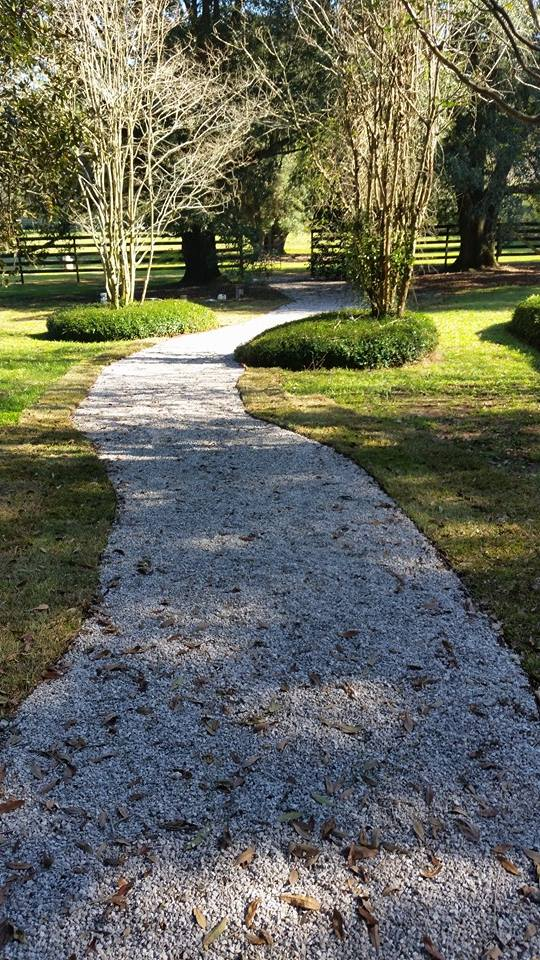This is a great ecogreengeid landscape path used for walking horses to there pasture, it's beautiful and functional. ..mud and erosion free!