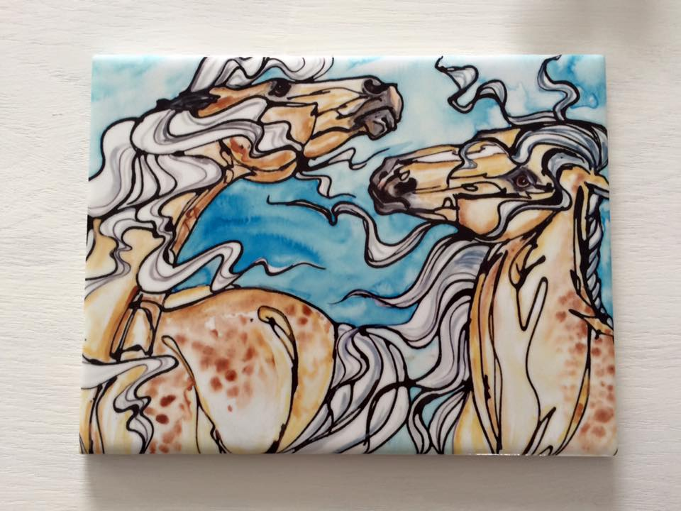 Custome tiles, varied sizes up to 8″ x 10″.