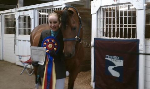 Brianna Trotto and RP Let's Celebrate after winning Best in Show from the judge at Oregon AMorgan Clasic