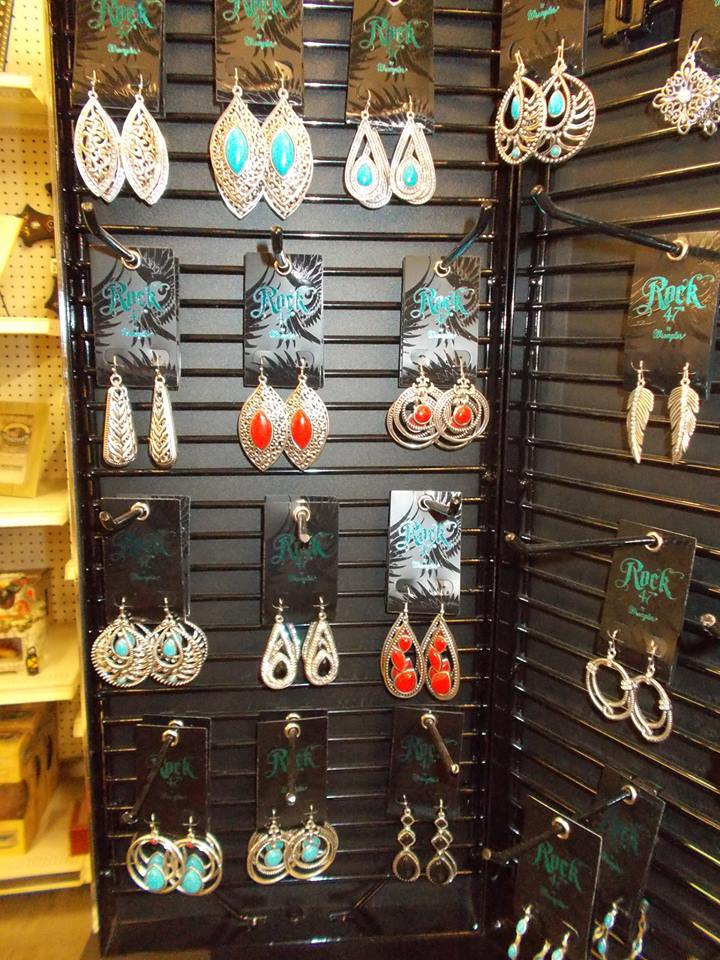 At the store you will find Montana Silversmiths jewelry, buckles, wallets, and knives.