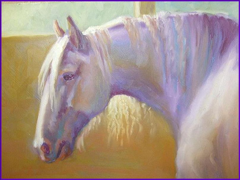 Work Horse- oil stick painting 9″x12″