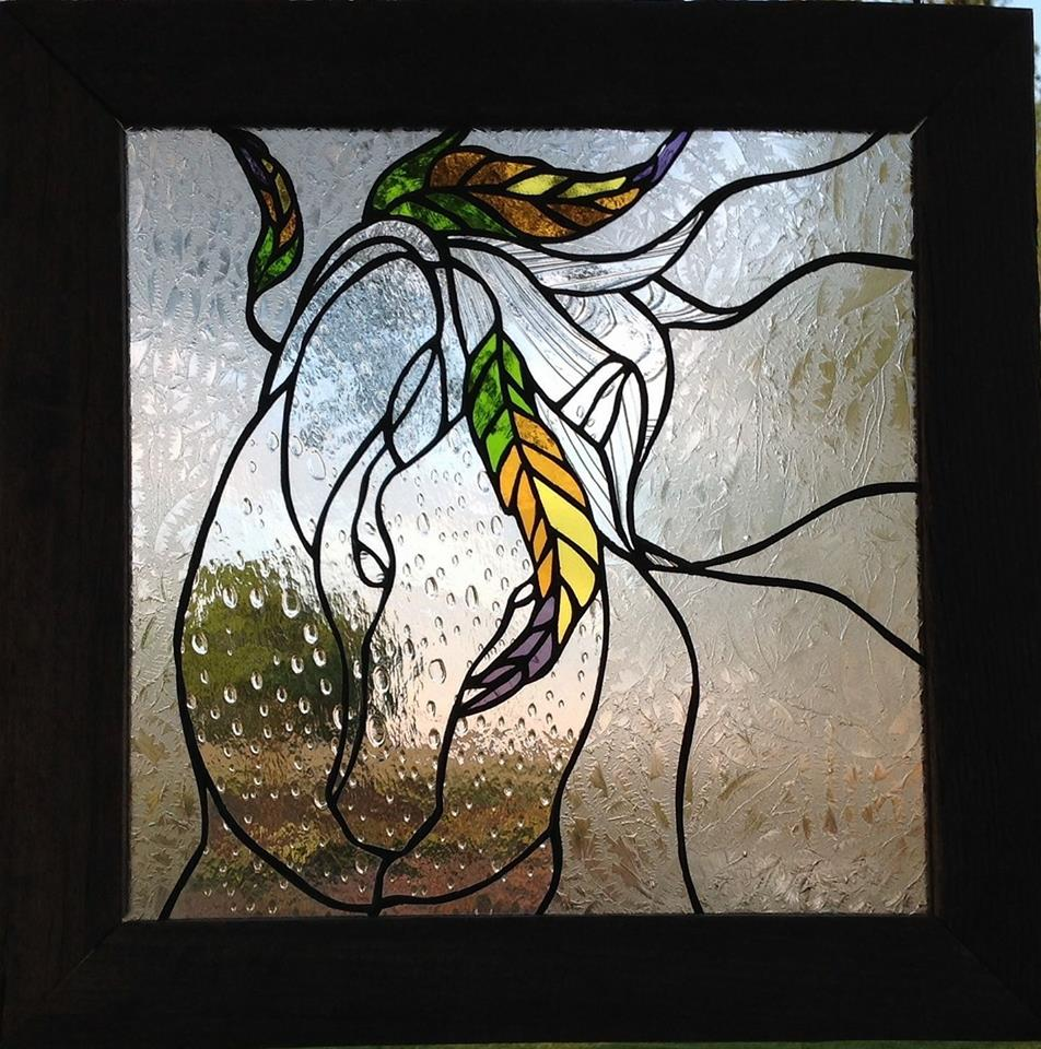 Custom design. One of a kind. Stained glass panel in barnwood frame.  See my Facebook page for other designs.